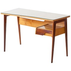 1950s Italian Desk Table in Mahogany and Oakwood with Glass Top