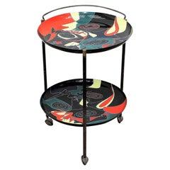 Midcentury Vintage Table Enameled Tray Stand by Siva Poggibonsi Italy  1950s