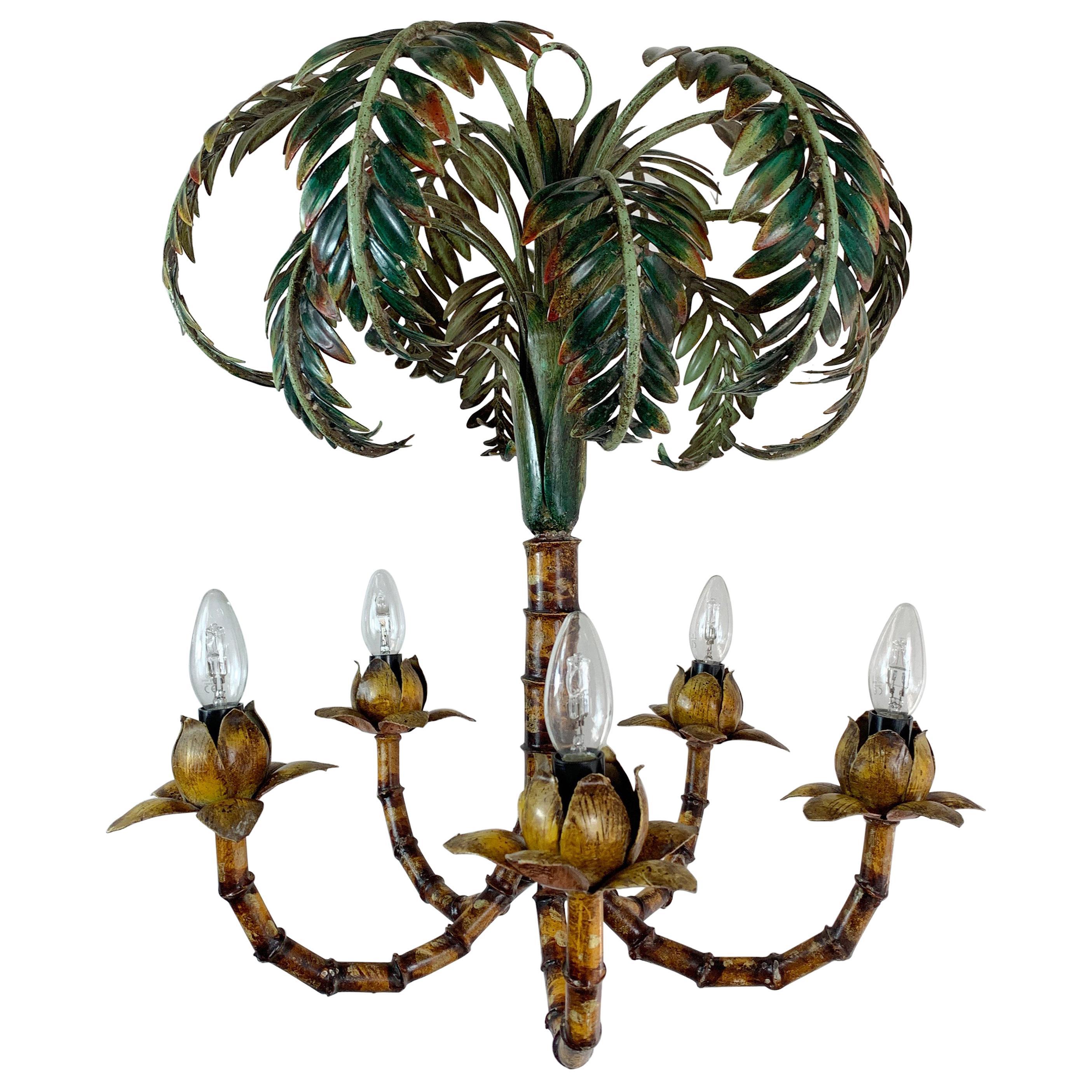 1950s Italian Faux Bamboo Palm Tree Chandelier