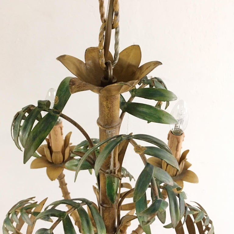 1950s Italian Faux Bamboo Tole Chandelier For Sale 3