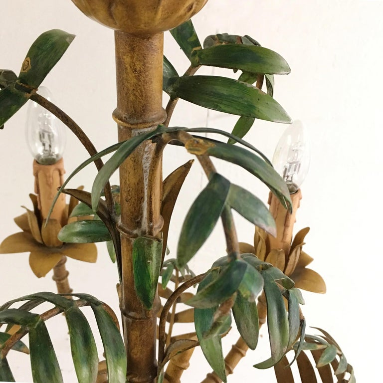 1950s Italian Faux Bamboo Tole Chandelier For Sale 7