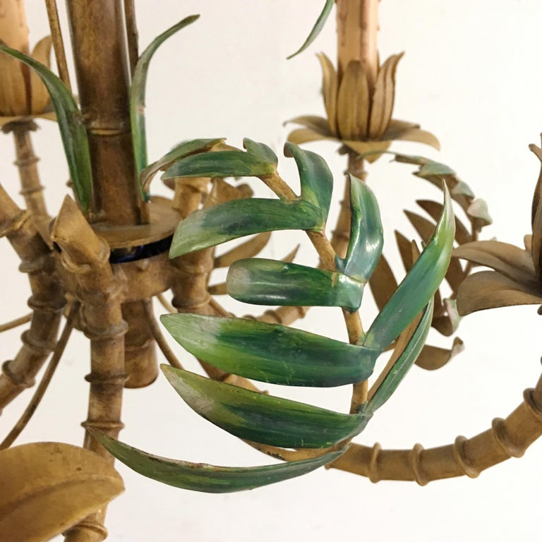 1950s Italian Faux Bamboo Tole Chandelier For Sale 9