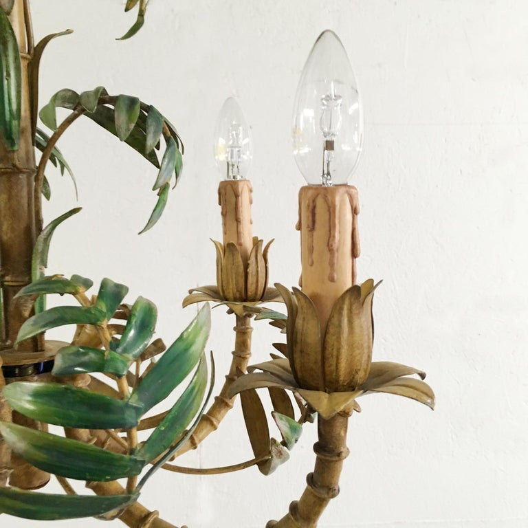 1950s faux bamboo Toleware chandelier