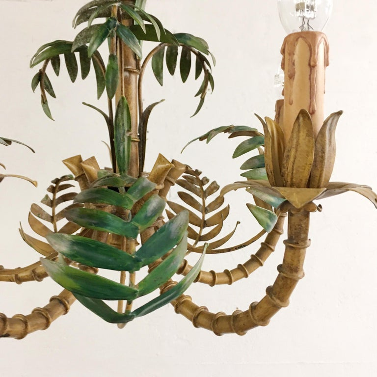 Hand-Crafted 1950s Italian Faux Bamboo Tole Chandelier For Sale