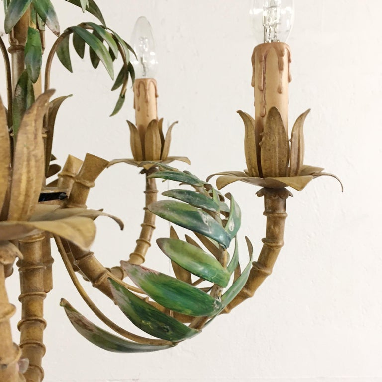 1950s Italian Faux Bamboo Tole Chandelier In Fair Condition For Sale In Hastings, GB