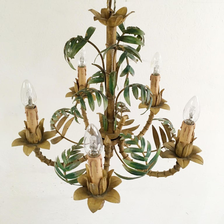 1950s Italian Faux Bamboo Tole Chandelier For Sale 2