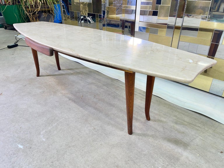 1950's Italian Fishtail Surfboard Marble & Walnut Cocktail Table For Sale 5