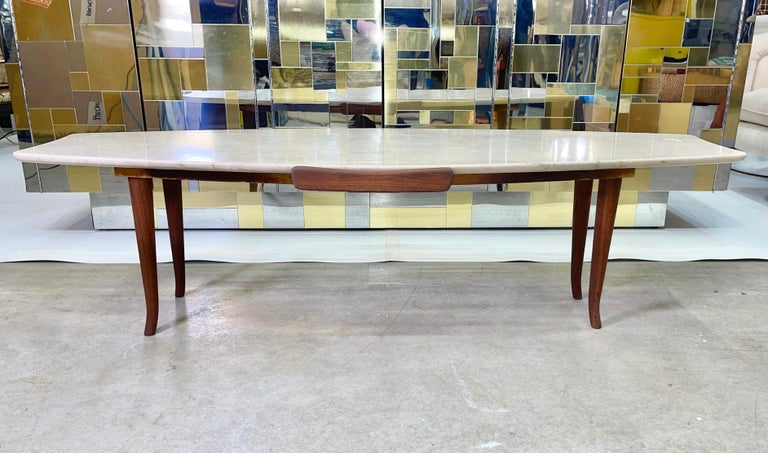 1950's Italian Fishtail Surfboard Marble & Walnut Cocktail Table For Sale 6