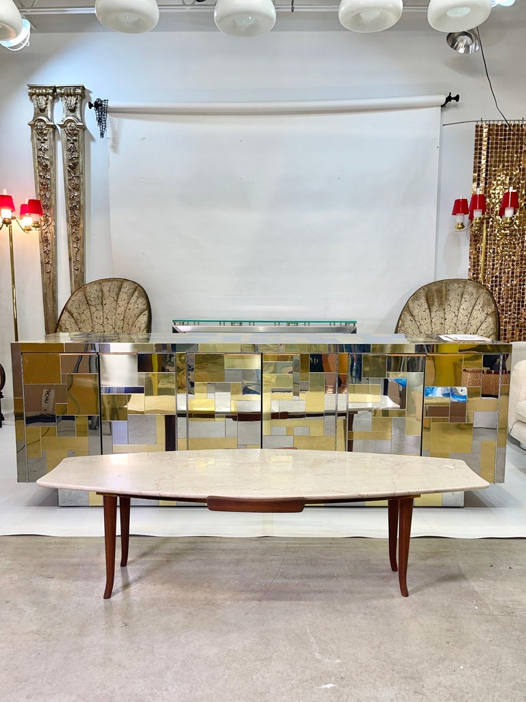 1950's Italian Fishtail Surfboard Marble & Walnut Cocktail Table For Sale 7