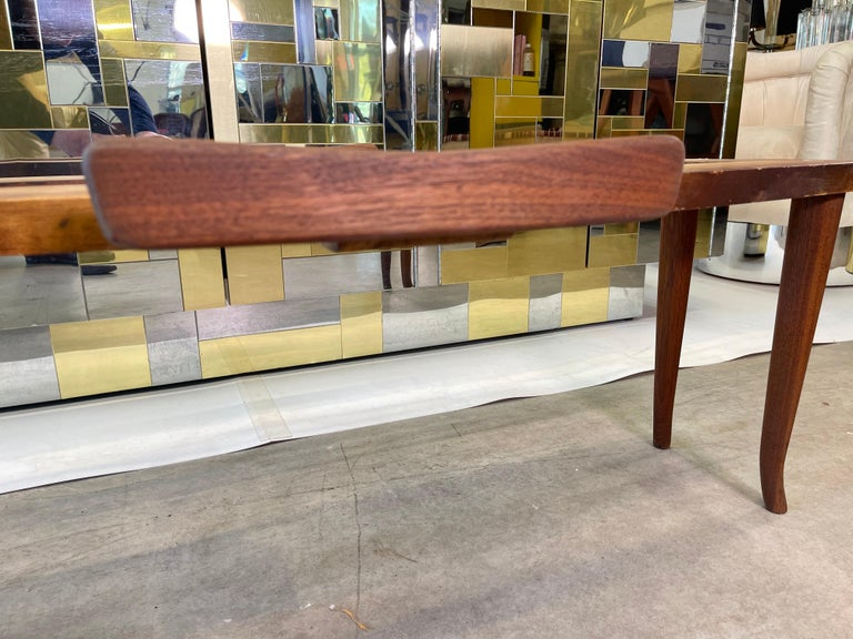 1950's Italian Fishtail Surfboard Marble & Walnut Cocktail Table For Sale 11