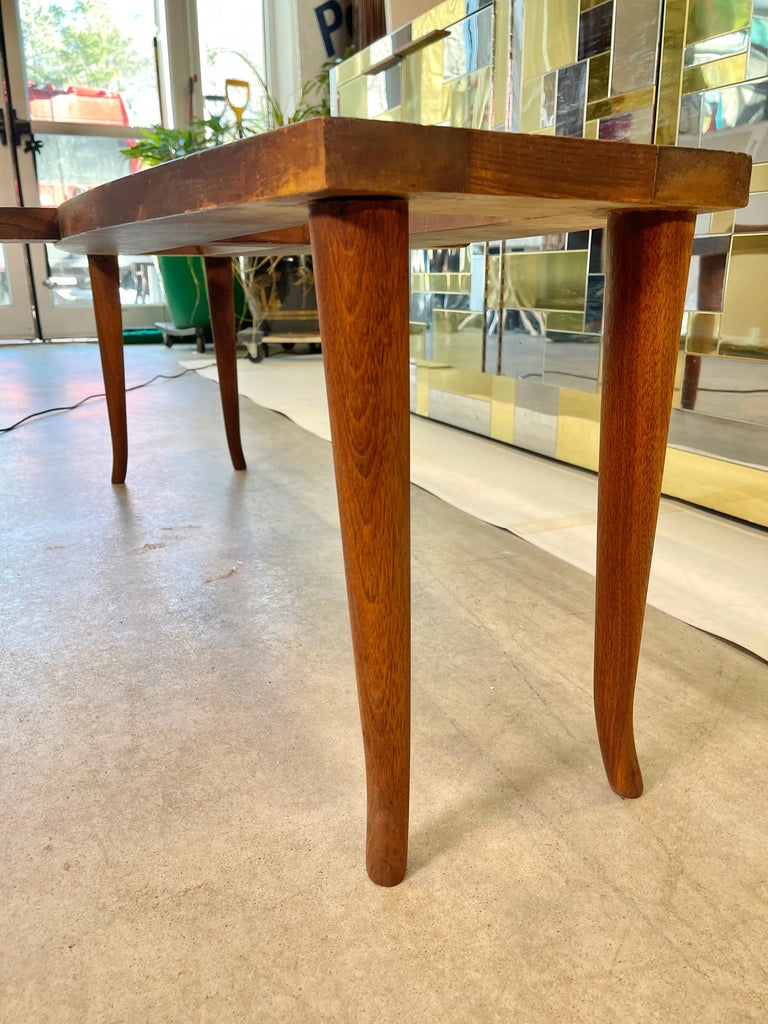 1950's Italian Fishtail Surfboard Marble & Walnut Cocktail Table For Sale 12
