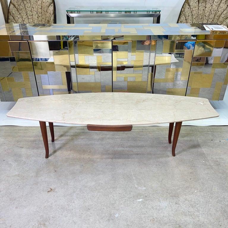 Mid-Century Modern 1950's Italian Fishtail Surfboard Marble & Walnut Cocktail Table For Sale