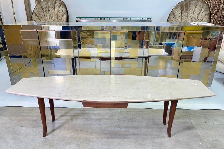1950's Italian Fishtail Surfboard Marble & Walnut Cocktail Table In Good Condition For Sale In Hingham, MA