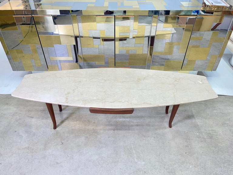 Mid-20th Century 1950's Italian Fishtail Surfboard Marble & Walnut Cocktail Table For Sale