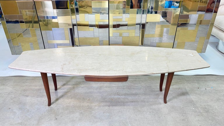 1950's Italian Fishtail Surfboard Marble & Walnut Cocktail Table For Sale 1