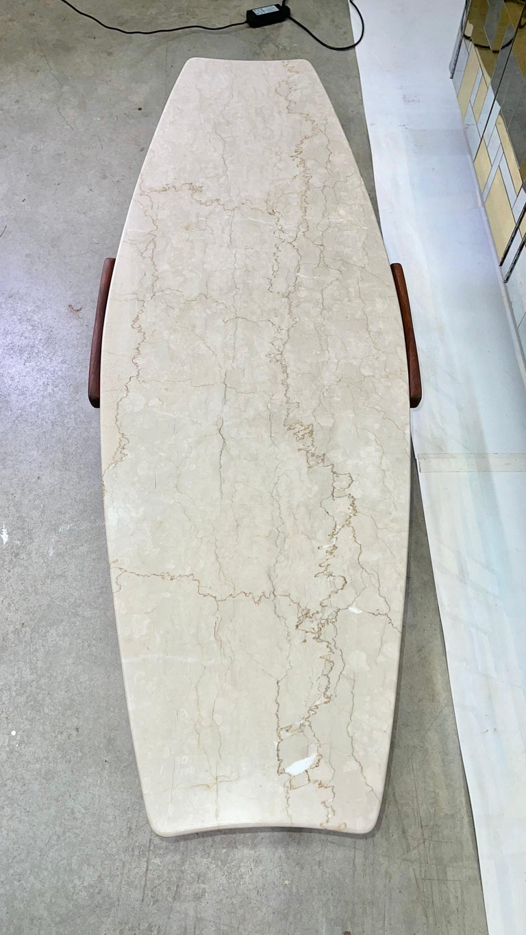 1950's Italian Fishtail Surfboard Marble & Walnut Cocktail Table For Sale 2
