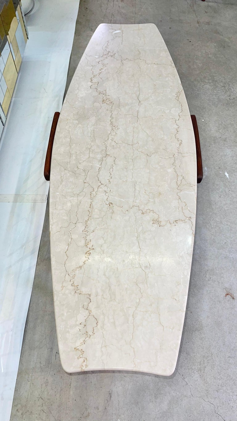 1950's Italian Fishtail Surfboard Marble & Walnut Cocktail Table For Sale 3