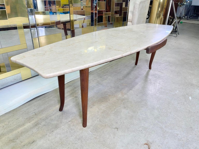 1950's Italian Fishtail Surfboard Marble & Walnut Cocktail Table For Sale 4