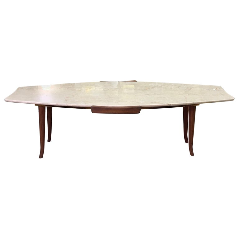 1950's Italian Fishtail Surfboard Marble & Walnut Cocktail Table For Sale