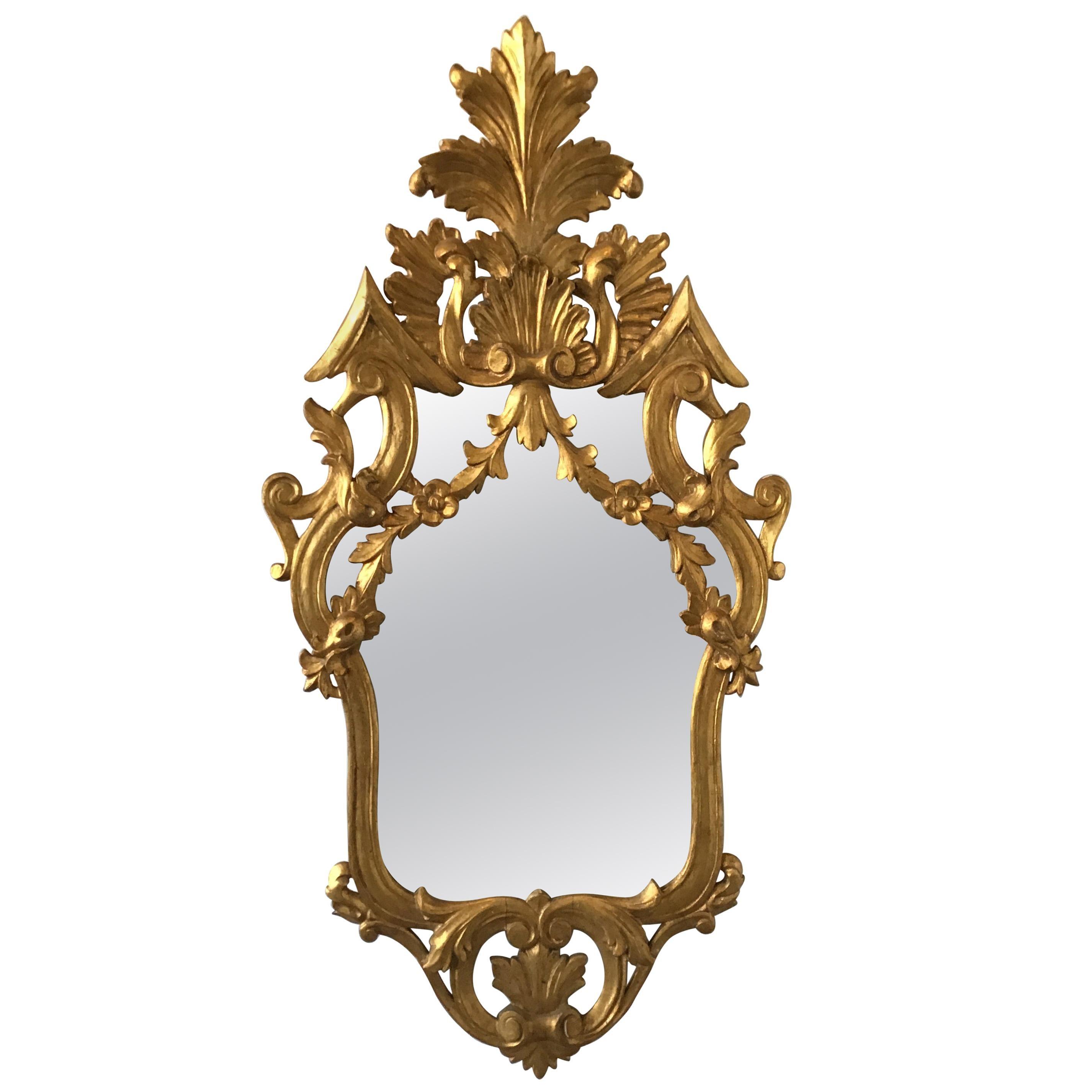 1950s Italian Gilt Carved Wood Mirror