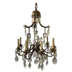 1950s Italian Gilt Iron and Crystal Pagoda Chandelier
