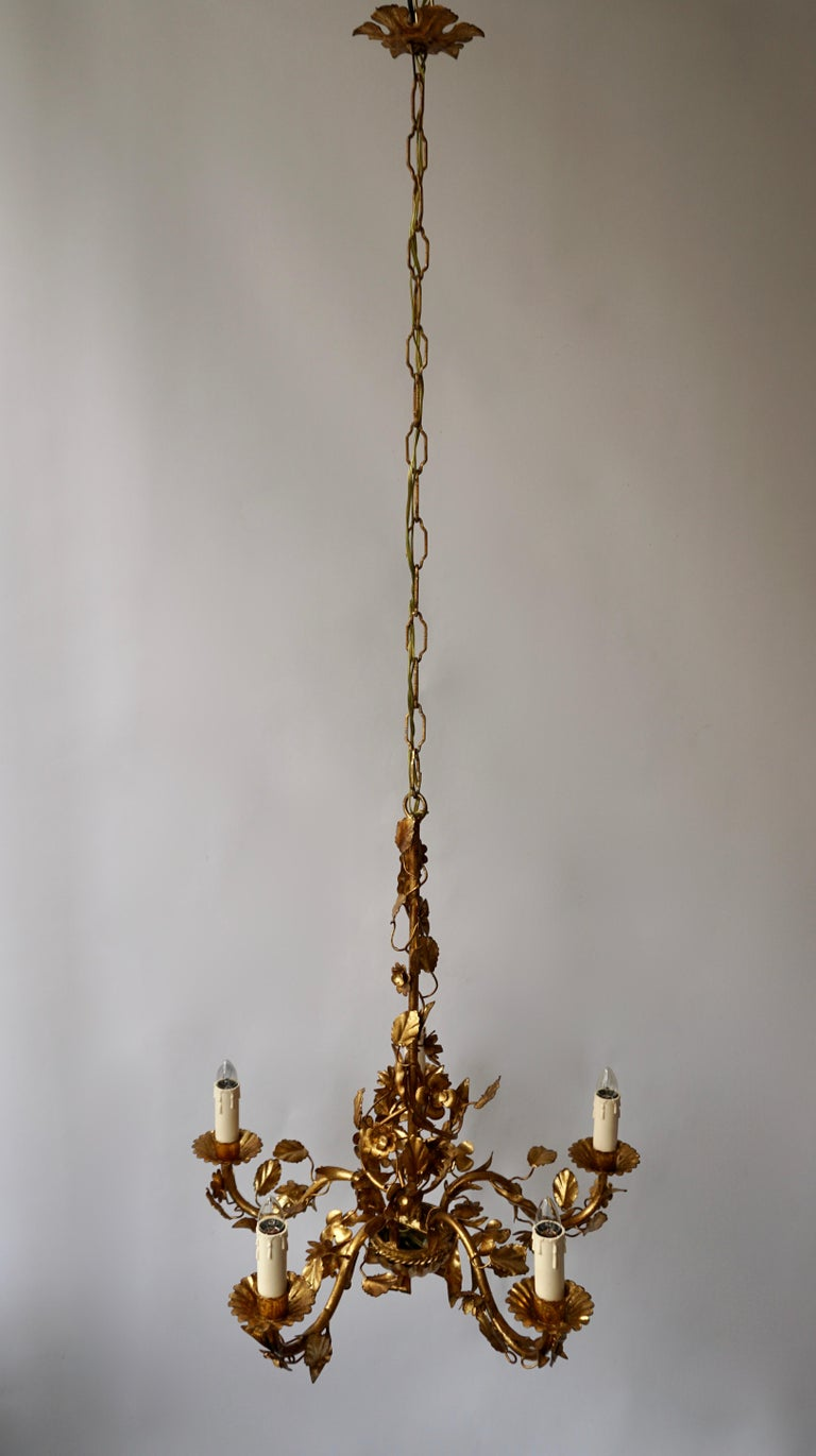 20th Century 1950s Italian Gilt Metal Chandelier For Sale