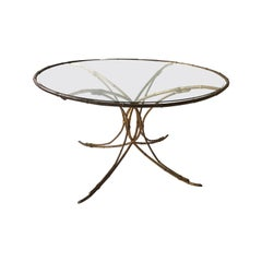 1950s Italian Gilt Metal Faux Bamboo Circular Dining Table