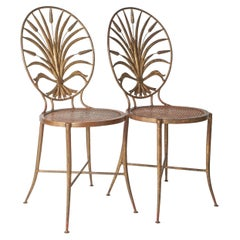 "1950s Italian Gilt ""Sheaf of Wheat"" Metal Sidechairs"