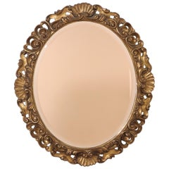 1950s Italian Giltwood And Pink Glass Mirror