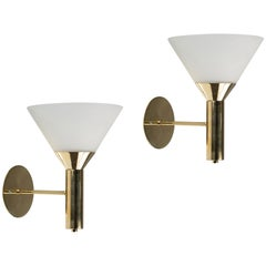 1950s Italian Glass and Brass Cone Sconces