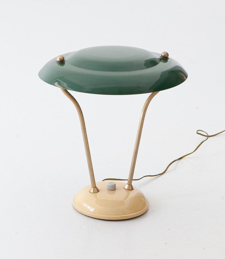1950s Italian Green and Cream Table Lamp In Good Condition For Sale In Rome, IT