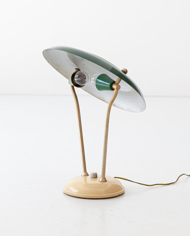1950s Italian Green and Cream Table Lamp For Sale 1