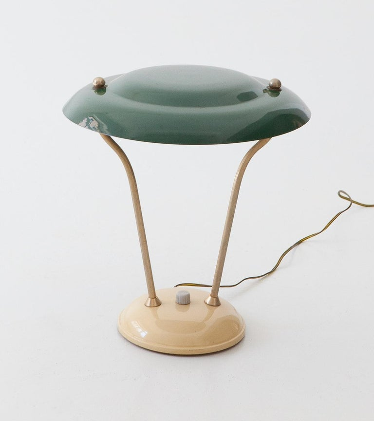 1950s Italian Green and Cream Table Lamp For Sale 2