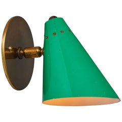 1950s Italian Green Cone Sconce in the Manner of Arteluce