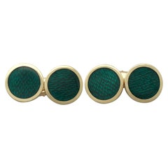 1950s Italian Guilloché Enamel and 18 Karat Yellow Gold Cufflinks
