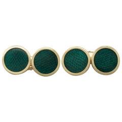 1950s Italian Guilloché Enamel and Yellow Gold Cufflinks