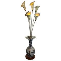 1950s Italian Hand Painted Ceramic Floor Lamp