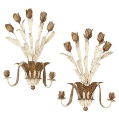 1950s Italian Handwrought and Painted Tulip Candle Sconces