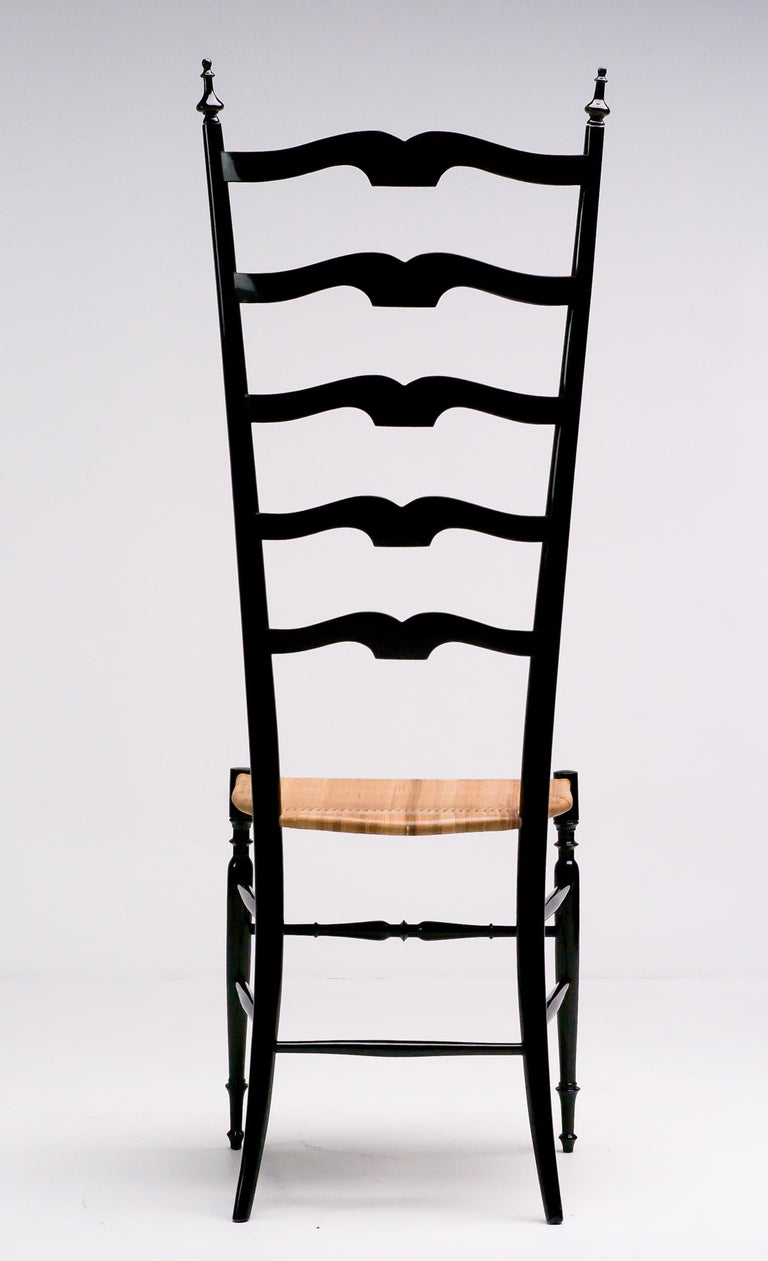 Mid-20th Century 1950s Italian High Back Lacquered Chiavari Chair For Sale