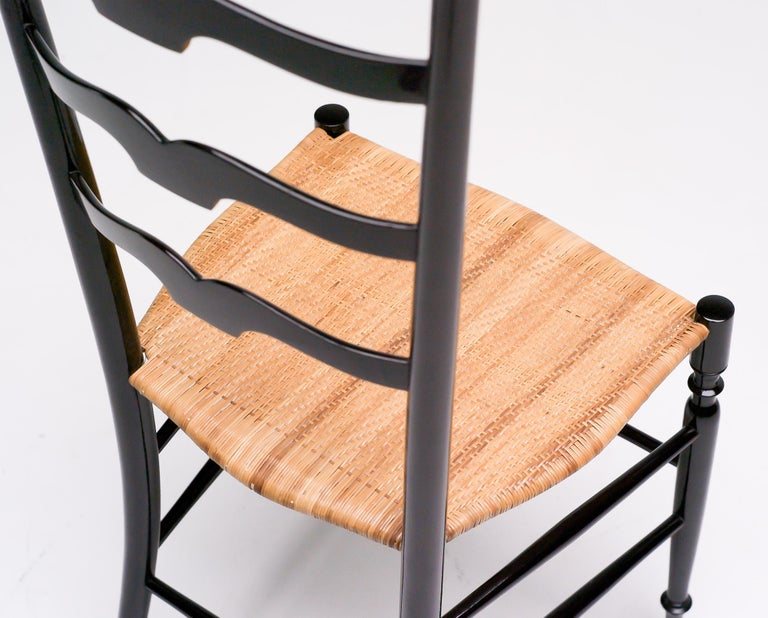 Cane 1950s Italian High Back Lacquered Chiavari Chair For Sale