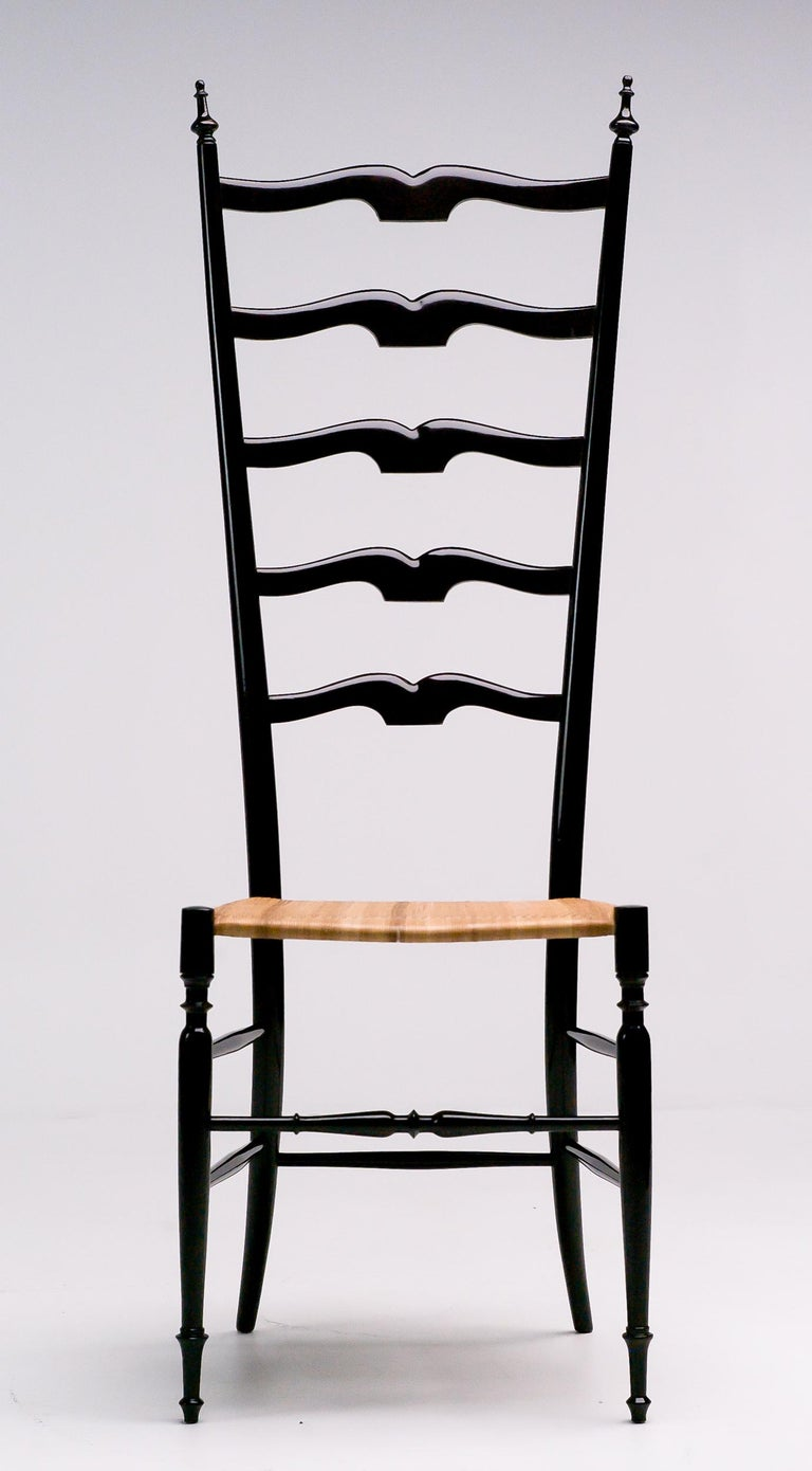 1950s Italian High Back Lacquered Chiavari Chair For Sale 2