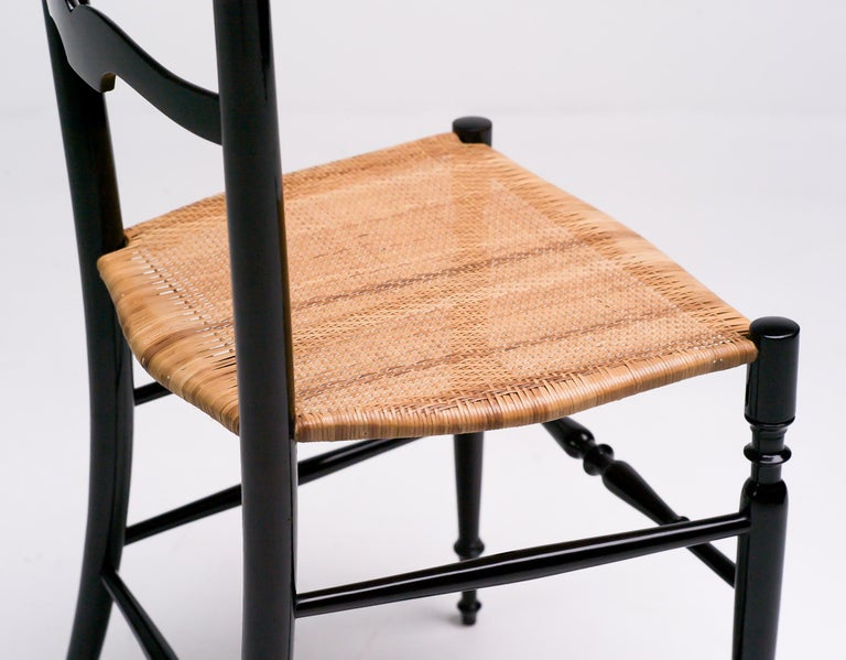 1950s Italian High Back Lacquered Chiavari Chair For Sale 3