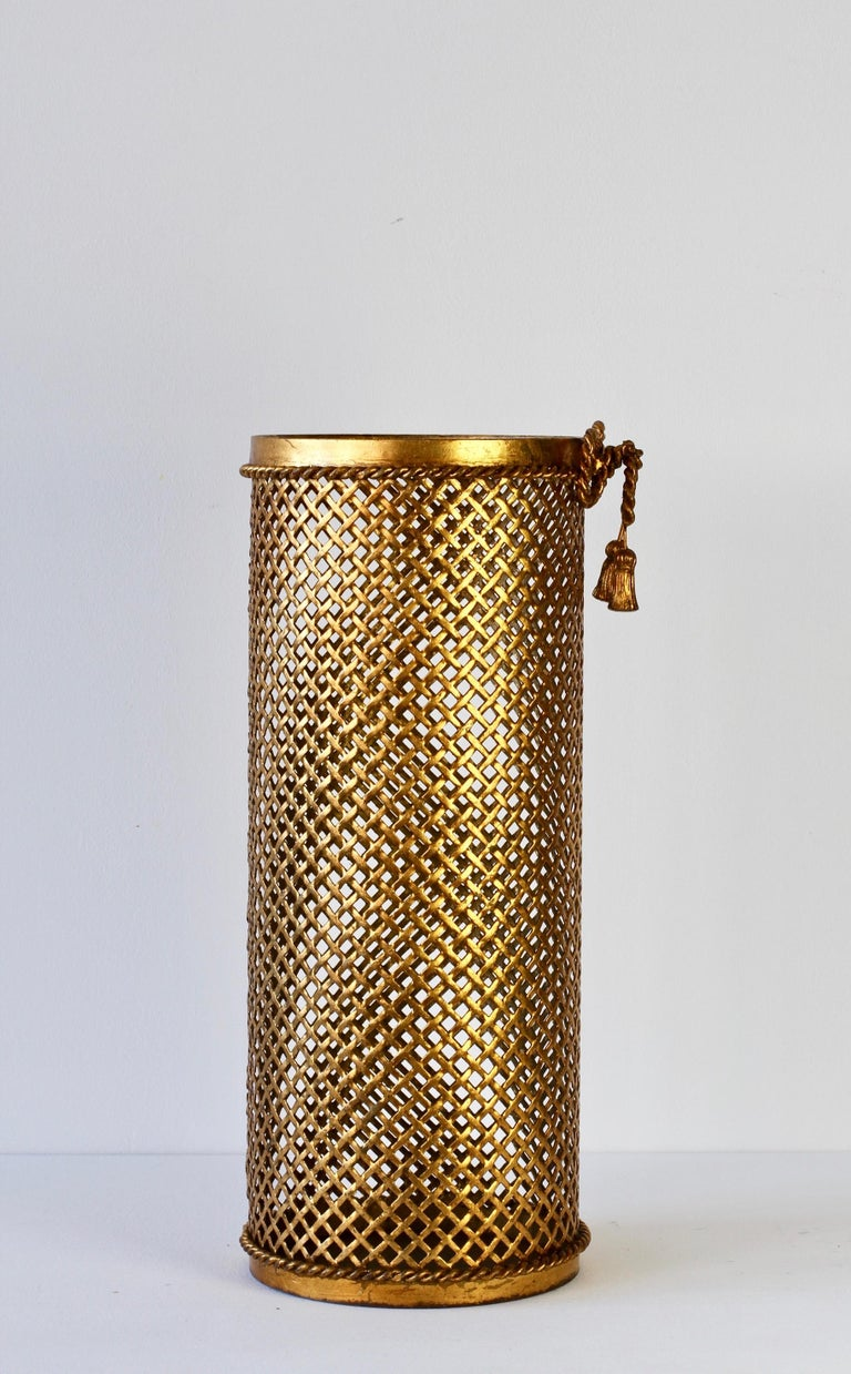 20th Century 1950s Italian Hollywood Regency Gold Gilded / Gilt Umbrella Stand or Holder For Sale