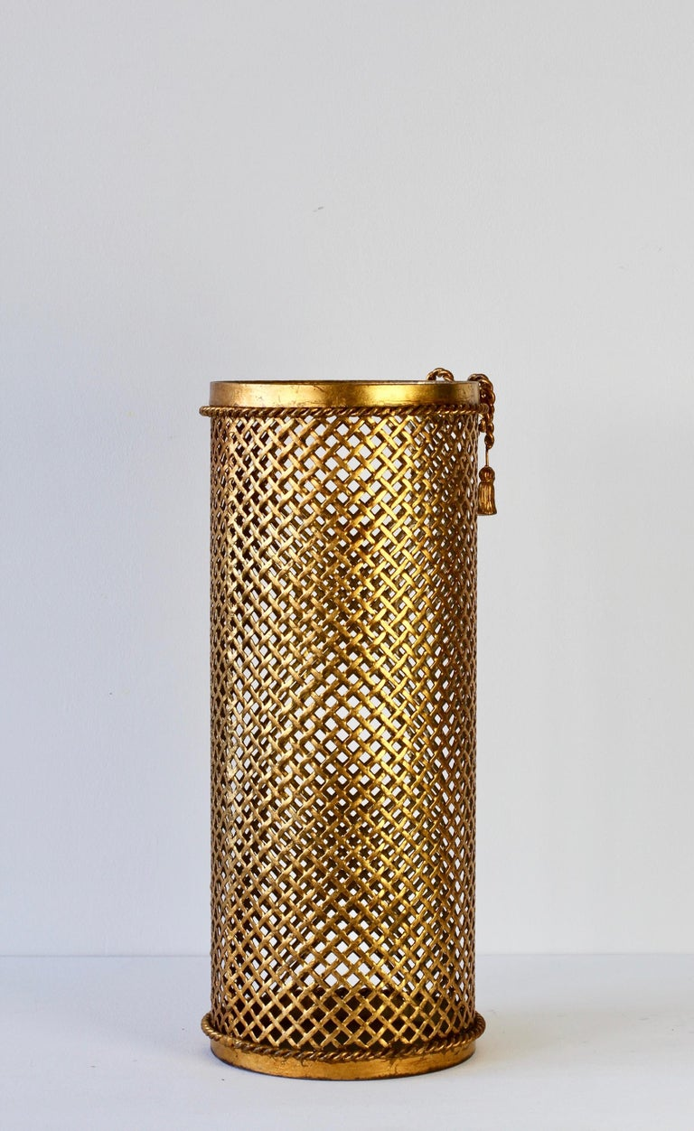 Wrought Iron 1950s Italian Hollywood Regency Gold Gilded / Gilt Umbrella Stand or Holder For Sale
