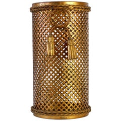 1950s Italian Hollywood Regency Gold Gilded Umbrella Stand or Waste Paper Basket