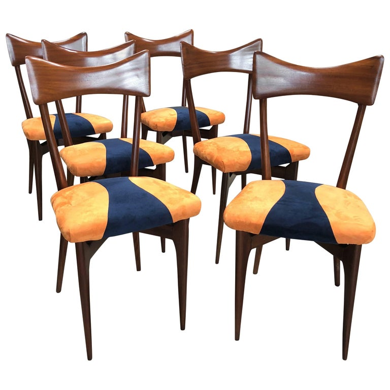 1950s Italian Ico Parisi Dining Chairs, Set of Six For Sale