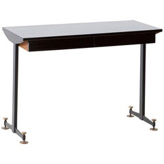 1950s Italian Lacquered Oak Brass and Iron Desk Table