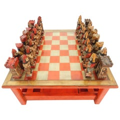 1950s Italian Large Sculpture Chess Coffee Table