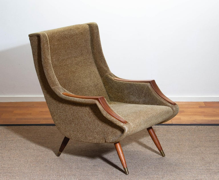 Chenille 1950s, Italian Lounge or Easy Chair by Aldo Morbelli for Isa Bergamo