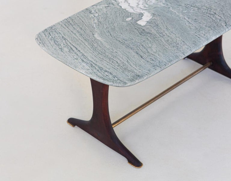 Brass 1950s Italian Low Coffee Table with Marble Top For Sale